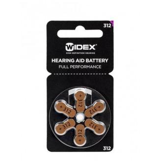 Батарейки Widex 312 для слуховых аппаратов, 6 батареек.