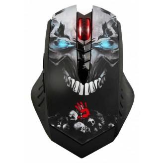 Мышь A4 Bloody R8 metal feet Skull design черный оптическая 4000dpi беспроводная