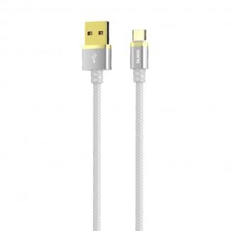 Кабель Type-C OLMIO DELUXE USB 2.0  2.1А 1m белый