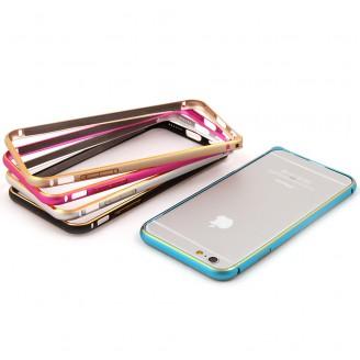 Бампер для iPhone 6/6S (Силикон глянец с вырезом голубой)