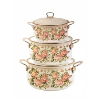 Набор посуды эмалированной GREENBERG GB-4519 Pозы