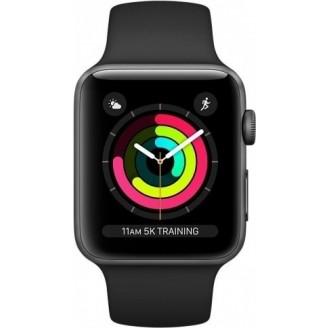 Apple Watch Series 3, 42 мм, алюминий 'серый космос', спортивный ремешок черного цвета (MQL12RU/A)