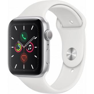 Apple Watch Series 5, 44 мм, серебристый алюминий, спортивный браслет белого цвета (MWVD2RU/A)