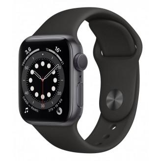 Apple Watch Series 6, 44 мм, алюминий цвета 'серый космос', спортивный ремешок чёрного цвета (M00H3)
