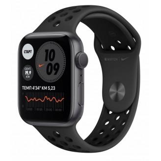 Apple Watch Nike Series 6, 40 мм, алюминий цвета 'серый космос', спортивный ремешок Nike 'антрацитовый/чёрный' (M00X3RU/A)