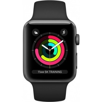 Apple Watch Series 3, 42 мм, алюминий 'серый космос', спортивный ремешок черного цвета (MQL12)