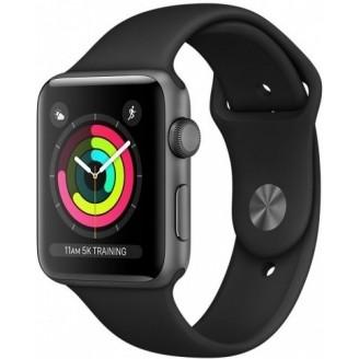 Apple Watch Series 3, 42 мм, алюминий 'серый космос', спортивный ремешок черного цвета (MTF32RU/A)