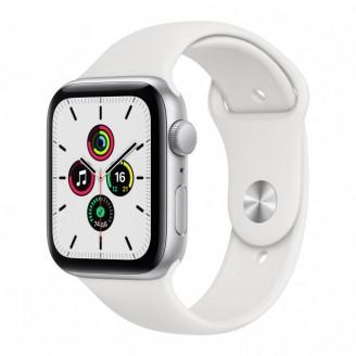 Apple Watch SE, 44 мм, серебристый алюминий, спортивный ремешок белого цвета (MYDQ)