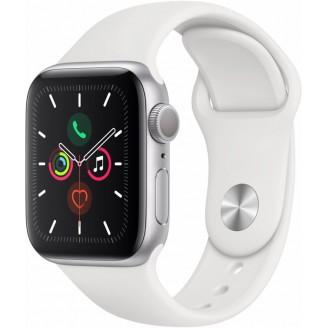 Apple Watch Series 5, 40 мм, серебристый алюминий, спортивный браслет белого цвета (MWV62RU/A)