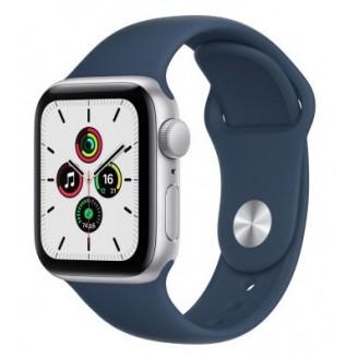 Apple Watch SE 2021, 40 мм, серебристый алюминий, спортивный ремешок цвета 'синий омут' (MKNY3RU/A)