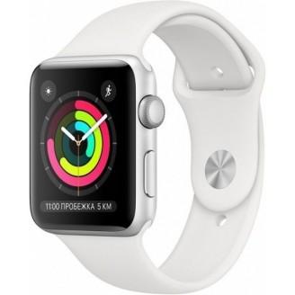 Apple Watch Series 3, 38 мм, серебристый алюминий, спортивный ремешок белого цвета (MTEY2RU/A)