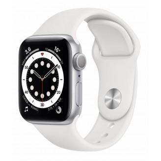 Apple Watch Series 6, 40 мм, серебристый алюминий, спортивный ремешок белого цвета (MG283)
