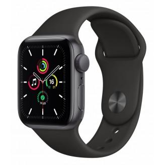 Apple Watch SE, 44 мм, алюминий 'серый космос', спортивный ремешок чёрного цвета (MYDT2)