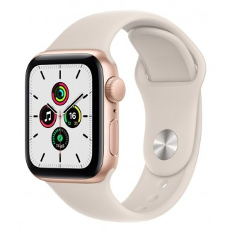 Apple Watch SE 2021, 40 мм, золотистый алюминий, спортивный ремешок цвета 'сияющая звезда' (MKQ03RU/A)