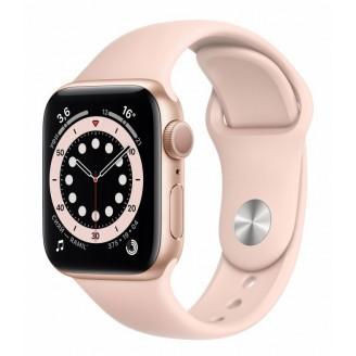 Apple Watch Series 6, 40 мм, золотистый алюминий, спортивный ремешок цвета 'розовый песок' (MG123RU/A)