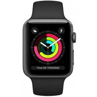 Apple Watch Series 3, 38 мм, алюминий 'серый космос', спортивный ремешок черного цвета (MTF02RU/A)